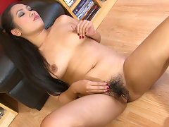 Sexy hairy Asian girl Amy is feeling hot and bothered. She wants to give a sexy hairy strip tease right there in her living room, and that is exactly what she does!video