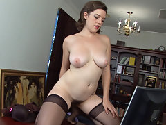 Hairy girl Mystique Jones is hard at work, but it\'s getting boring. She turns on her favorite site, we are hairy, to get a little titillation to touch her hairy body before getting back to work.video