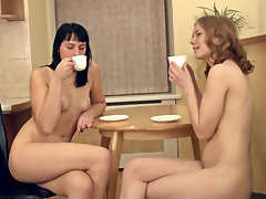 Emilija and Ksenija are hanging out in the kitchen in their denim shorts but it\'s not long before temptations get the best of them and they are eating each other\'s hairy pussies out.video