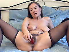 Sveta loves the taste of her hairy pussy juices, she loves to suck them off a cock but a dildo will have to do. See her shiver in delight as works it deep into her bush.video