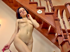 Ginger Alice loves to tease. After a show on the stairs she slinks down to her favorite comfy chair to continue her hairy parade through the house. Come watch the hairy fun!video