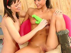 Playful lesbian Melisa and Avidat kissing and making out on floorvideo