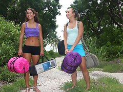 Hot playful lesbian Sophia and Nicole are camping in the backyardvideo