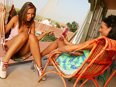 Amateur hot lesbian babes kissing and touching their tits outdoorvideo
