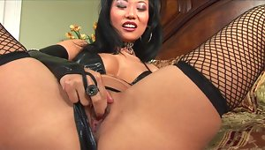 Exotic Asian mistress Niya Yu mixes leather and lace to get her man rock hard. She expertly sucks him off, jacking him off with her tiny hands and the right amount of suction. She takes his cum all over her face with a big smile. Now this is a girl who loves her job. video