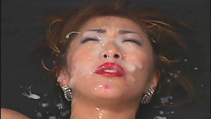 Mature woman Yukari Sakurada gives blowjobs  masturbates with a dildo  gets fucked & gets bukkake cumshots on her face.video