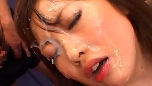 This is not the first hardcore bukkake movie Rio Hamasaki has been in but its sure is not the last. For those of you who knows Rio Hamasaki  she has a nice pair of big tits and this JAV model is nasty as hell! She will take anything you throw at her so massive cum shot facials is just another walk in the park.video