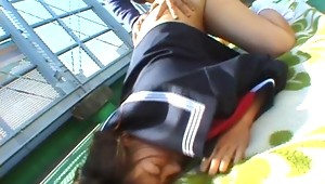 This cute Japanese Coed looks shy at first but it comes to show her sexy body, she is not afraid. She starts to show her naked body in the street and then gets deeply fucked on the roof of his school. what a cock whore!video