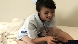 Nurse Ami Matsuda has all that you would ever need to relieve you of any illness. One patient seems to be suffering from severe blowjob deprivation, so Ami, dedicated nurse that she is, solves that particular problem.video