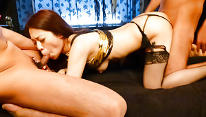 Sexy Ann Yabuki in hot stockings banged by two crazy wild boyfriendsvideo