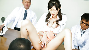 Sara Yurikawa enjoys a rough office gangbang video