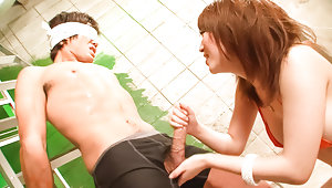 Sayaka Tsuzi takes control of a horny guy tying him up and teasing him until he is insanevideo